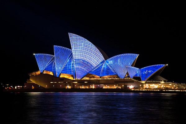 Vivid lights at the Opera House