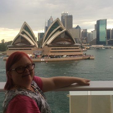 lady smiling at the Opera House