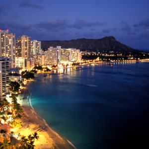 Waikiki Beach and Diamond Head at night Oahu, Hawaii