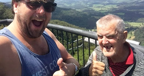 two mates at a lookout